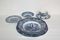 Liberty Blue Historic Colonial Scenes Staffordshire Ironstone 6 pc Place Setting
