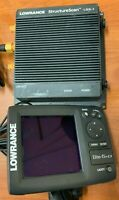 Lowrance fish finder elite 5 HDI w/ structurescan LSS-1 plus cords