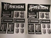 ** RARE (2) Reign Energy Drink Logo Sticker Sheets & (2) Free Monster decals **