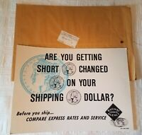 c 1950s Railway Express Agency Railroad Sign Cardboard w Envelope 27