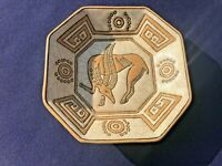 FRENCH ART DECO LONGWY PRIMAVERA ENAMEL POTTERY DISH WITH STYLIZED GAZELLE