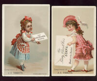 2 LAUTZ BROS & CO. SOAP TRADE CARDS, PRETTY LITTLE GIRLS WITH  LG LETTERS  V396