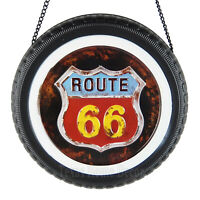 Route 66 Embossed Metal Tin Sign Tire Shaped Rustic Man Cave Garage Decor 12