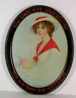1910s TIN LITHOGRAPH HOFFLER ICE CREAM SODA FOUNTAIN SERVING TRAY PRETTY WOMAN