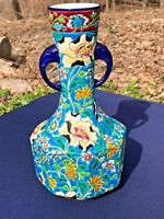FRENCH LONGWY 19TH CENTURY ENAMEL POTTERY VASE WITH ELEPHANT HEAD HANDLES