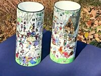 RARE PAIR OF FRENCH LONGWY 19TH CENT ENAMEL POTTERY VASES COMICAL DECOR D'HUART