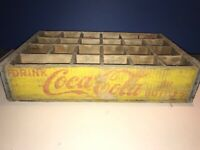 Vintage Coca Cola Wood Crate Box for 24 Bottles Yellow w Red Lettering