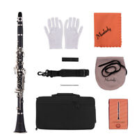 Muslady ABS 17-Key Clarinet Bb Flat with Carry Case Gloves Cleaning Cloth B5Z1