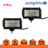 2x 5quot;INCH 144W LED Work Light Bar Flood Pods Driving OffRoad Tractor 4WD ATV 12V