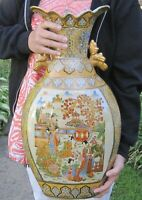HUGE vintage Japanese Asian pottery vase with heavy gold  -almost 24