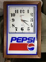 Pepsi Cola Wall Clock Hanover Quartz Battery Wood Frame Vintage Advertising