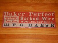 original Baker Perfect Barbed Wire cardboard advertising sign Forest Junction WI