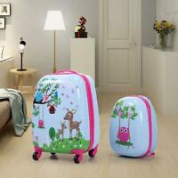 2 Pc Kids Carry On Luggage Set Hard Upright Side Hard Shell Suitcase 12-in 16-in
