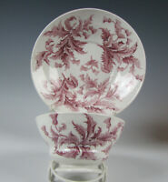 Antique Red Staffordshire Transferware Cup and Saucer Thistle Pattern c.1835