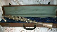 Vintage BRASS One Piece Metal Clarinet Unbranded 790  Copper Bell  Orig Case