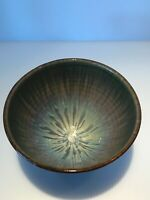 Vintage Bill Campbell Stoneware Studio Art Signed Blues & Browns, A-357(d)