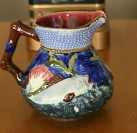 VINTAGE SHORTER MAJOLICA FISH AND SHELLS PITCHER MADE IN ENGLAND