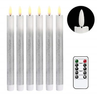 6 Pack Remote Flameless Taper Candles Flickering Timer Silver LED Taper Window