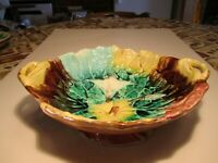 Antique Majolica Colorful Flowers Decorated 2 Handlled Elevated Pottery Bowl