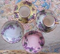 C.T. Carl Tielsch  Antique hand painted violets Germany demitasse cups
