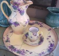 Lovely C.T. Carl Tielsch  Antique hand painted violets Germany demitasse cup sau