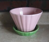 ANTIQUE SHAWNEE POTTERY PLANTER WITH SAUCER UNUSUAL PINK & GREEN COMBINATION