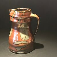 Vintage Stoneware Pottery Art Hand Made Signed Pitcher, A-389
