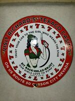 VINTAGE TEXACO PIN UP CASINO PORCELAIN SIGN 1959 GAS STATION PUMP PLATE GAS OIL