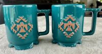 Frankoma Green Glaze Terra Cotta Coffee Mug Southwest Pattern SET OF 2