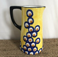 Vtg SMF Schramberg Germany Hand Painted Pottery Pitcher Floral Yellow Black Blue