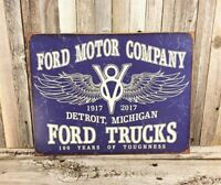 Ford Motor Company V8 Trucks 100 Years Toughness Metal Tin Sign Garage Vintage