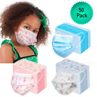 50pk 3 Ply Kids Face Mask Disposable Child Size Mouth Nose Cover with Ear Loops