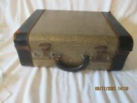 Vintage Striped Tweed Brown 15quot; Suitcase 1930s 1940s Antique Old Luggage Decor