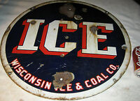 ANTIQUE PATRIOTIC AMERICAN WISCONSIN ICE & COAL CO. PORCELAIN ART SIGN TOOL USA