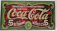 Delicious and Refreshing Drink Coca-Cola At Fountains In Bottles 5 Cent Tin Sign