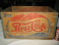 ANTIQUE COUNTRY STORE PEPSI COLA BOTTLE CAP ART ADVERTISING WOOD BOX SIGN CRATE
