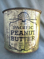 VINTAGE GREAT ATLANTIC & PACIFIC TEA CO 25 LB PACIFIC PEANUT BUTTER TIN CAN