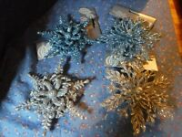 NWT Greenbrier Christmas Ornaments Glitter Snowflakes Blue Or Silver
