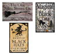 Halloween Metal Sign Decor 3 pc Set Rustic Signs Witch Decoration Broom Cat Hat