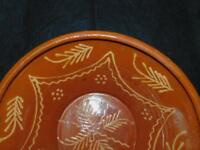 ANTIQUE LARGE REDWARE RED WARE DECORATED BOWL 13