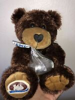 100 ANNIVERSARY HERSHEY TEDDY BEAR HOLDING SILVER KISS STUFFED PLUSH KISSES TOY