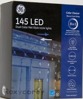 GE 8in1 Color Choice 145 LED Blue/Cool White Dual Color Net style Icicle Lights