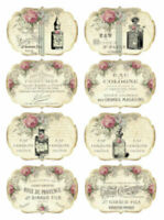 Vintage Image Victorian Grunge French Perfume Labels Waterslide Decals LAB429