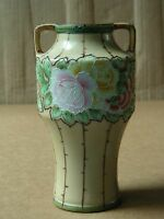 NIPPON HAND PAINTED FLORAL PORCELAIN URN VASE WITH HANDLES