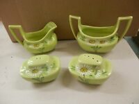 Green Vallona Starr Calif Salt & Pepper Shakers Creamer Sugar Dish Set VINTAGE