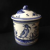 Vintage Decor Moustiers French Pottery Small Jar w/ Lid Butter Bell/Jar(?)
