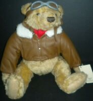 Texaco Collectible Bear Plush Ace Flying Pioneer 2nd Series 1998 Bomber Jacket