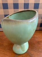 Frankoma green brown egg shaped bowl vase serving stand