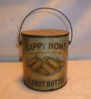 Vtg Antique Happy Home Peanut Butter Tin Can - 2 pounds - Seattle