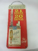 VINTAGE ADVERTISING CHESTERFIELD CIGARETTE STORE TIN THERMOMETER 760-K